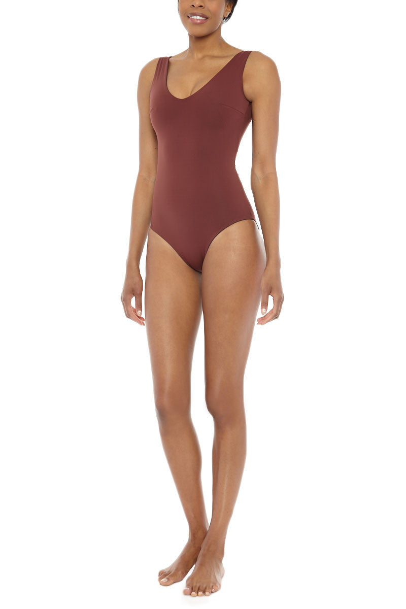 MYMARINI Pure Reversible Scoop High Cut One Piece Swimsuit - Navy Blue/Rosewood Red One Piece | Navy Blue/Rosewood Red |Pure Reversible Scoop High Cut One Piece Swimsuit - Navy Blue/Rosewood Red LE:  Brick red reversible to navy blue scoop neck one piece swimsuit. Made of high-quality sustainable fabric high cut leg   Front View