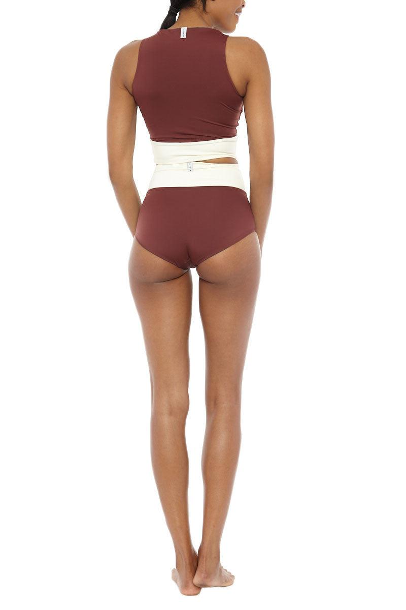 MYMARINI Surf Shorts Bikini Bottom | Grey/Wood| MYMARINI Reversible Surf Bikini Bottom Shorts