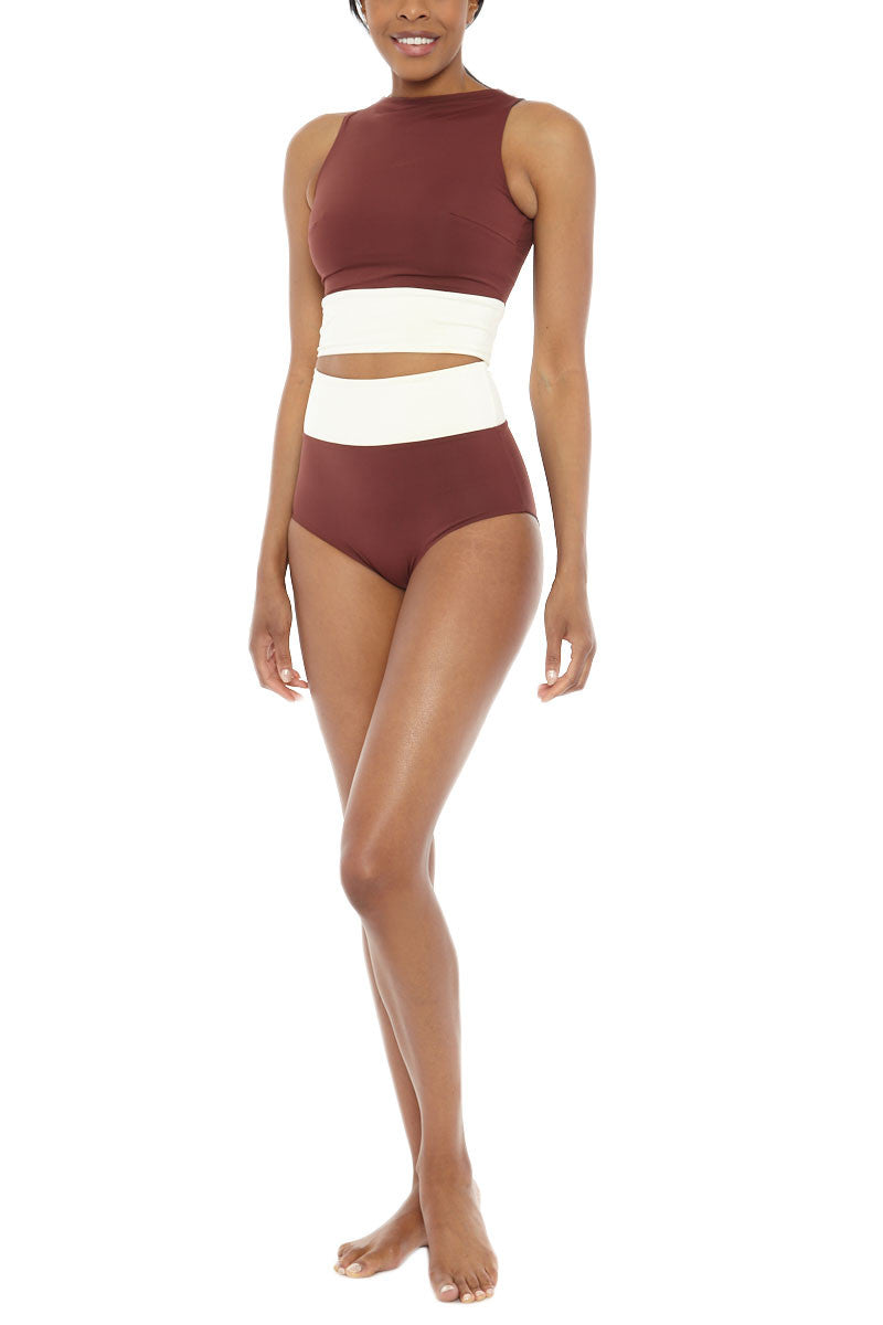 MYMARINI Surf Reversible Top Bikini Top | Grey Wood White| MYMARINI Surf Reversible Bikini Top
