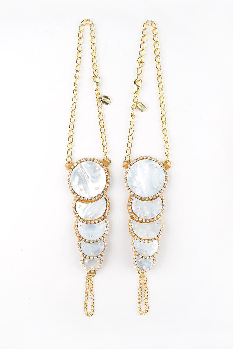 MYSTIQUE Iced Out Foot Jewelry Set Jewelry | Gold & MOP|