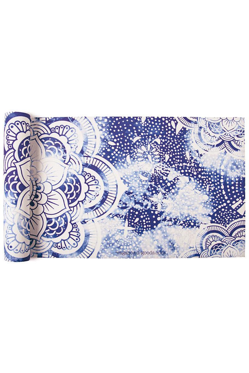 VAGABONDS GOODS Mandala Yoga Mat Yoga Mat | Mandala| Vagabond Goods Mandala Yoga Mat Non-Slip Extra-Thick Lightweight Yoga Mat Indigo Batik Pattern Mandala Symbols Non-Toxic Solvent-Free UV-Cured Inks Pillow Texture