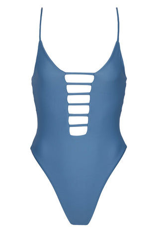 MONTCE SWIM Cage Plunging High Cut One Piece Swimsuit - Hampton Blue One Piece | Hampton Blue| Montce Swim Cage Plunging High Cut One Piece Swimsuit - Hampton Blue. Features: Plunging steel blue one piece. strappy front and back detail. Front View