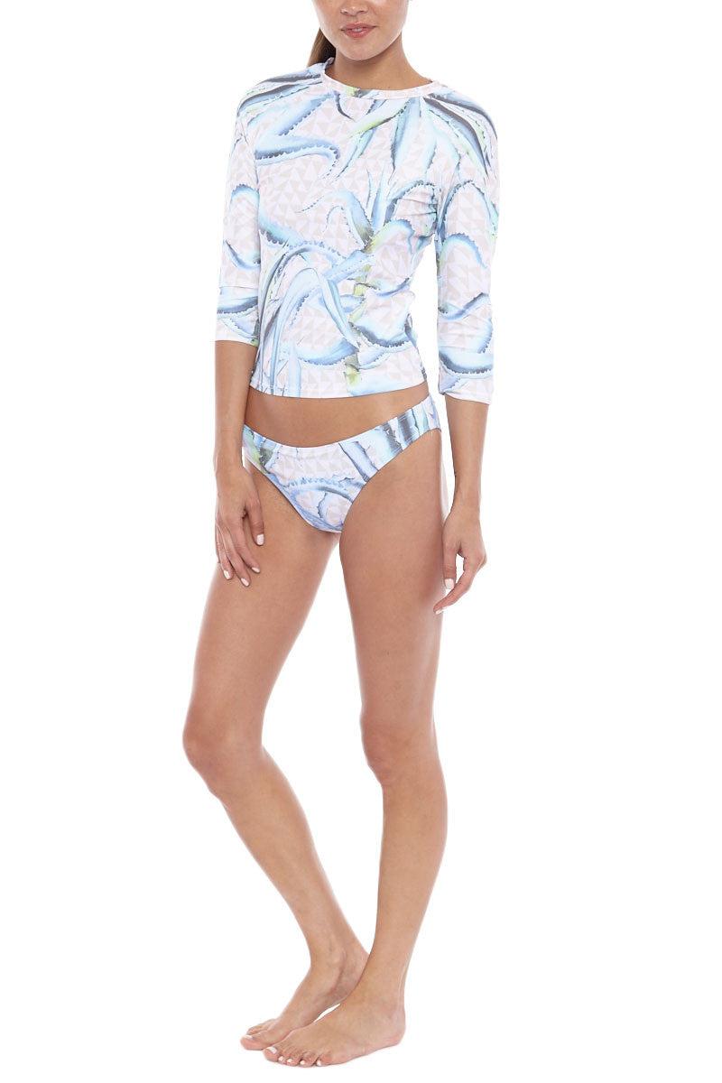MARA HOFFMAN 3/4 Sleeve Cropped Rashguard Top - Aloe Print Bikini Top | Aloe Print| Mara Hoffman 3/4 Sleeve Cropped Rashguard Top - Aloe Print