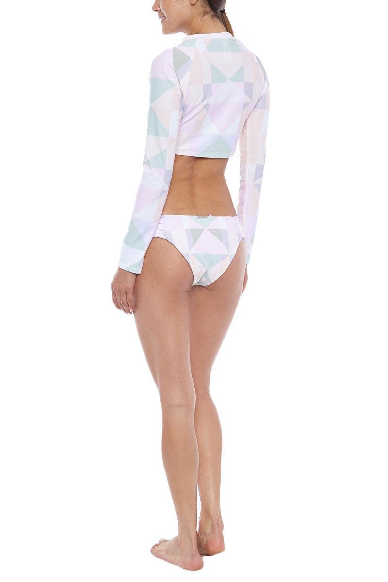 MARA HOFFMAN Long Sleeve Cropped Rashguard Top - Pastel Pink Bikini Top | Pastel Pink| Mara Hoffman Long Sleeve Cropped Rashguard Top - Pastel Pink
