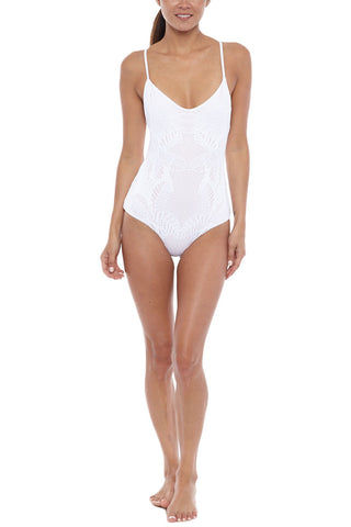 MARA HOFFMAN Low Rise Back One Piece - White Floral Jacquard One Piece | White Floral Jacquard| Mara Hoffman Low Rise Back One Piece
