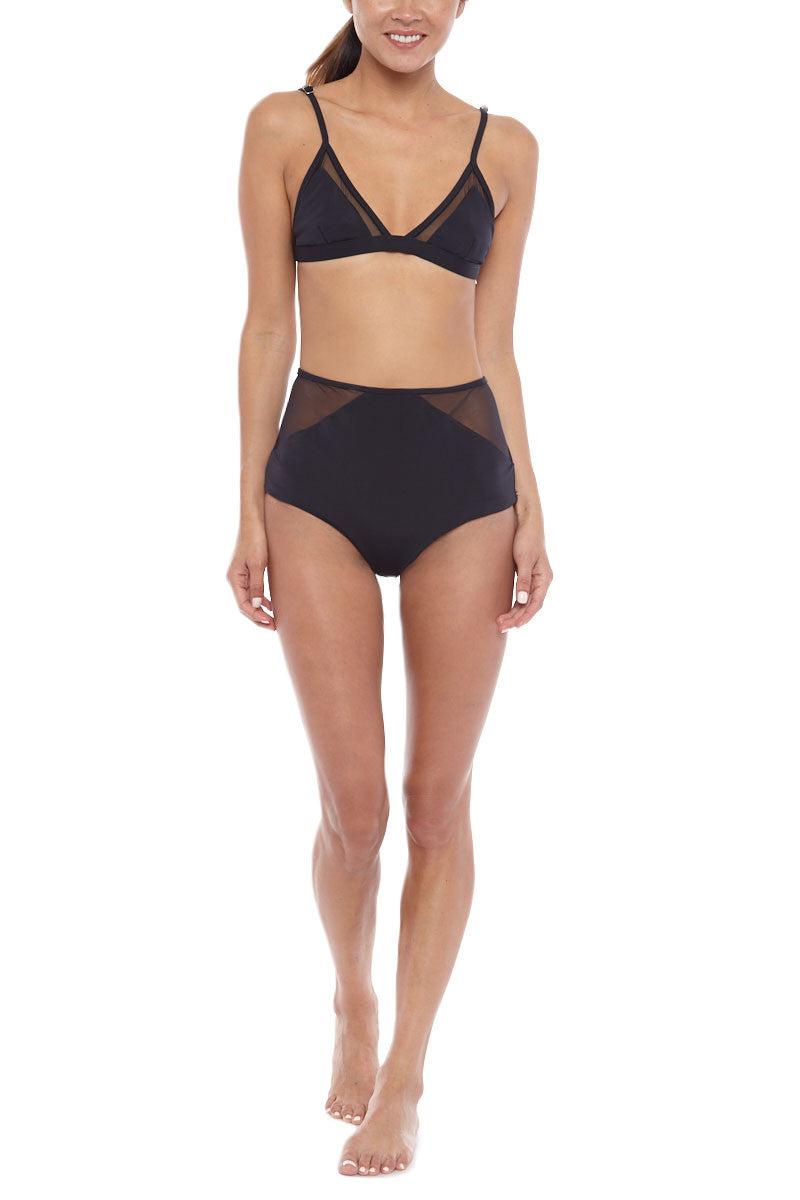 MARA HOFFMAN Mesh Triangle Bralette Bikini Top - Black Bikini Top | Black| Mara Hoffman Mesh Triangle Bralette Bikini Top - Black