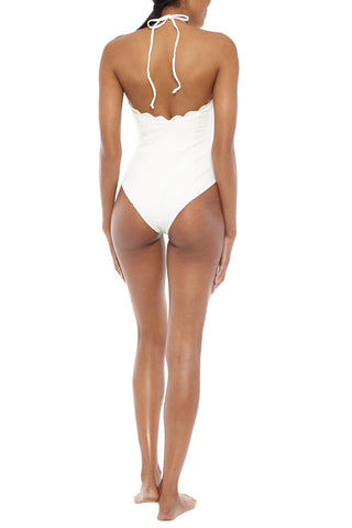 MARYSIA Broadway Halter Reversible Maillot One Piece Swimsuit - Cream/Sunlight Yellow One Piece | Cream/Sunlight Yellow| Marysia Broadway Halter Maillot One Piece Swimsuit - Cream/Sunlight Yellow Scalloped edges Adjustable halter ties Moderate coverage 88% Polyamide, 12% Elastane  Back View