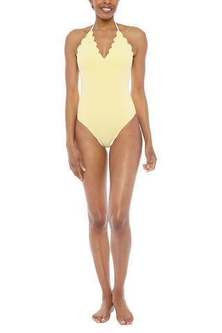 MARYSIA Broadway Halter Reversible Maillot One Piece Swimsuit - Cream/Sunlight Yellow One Piece | Cream/Sunlight Yellow| Marysia Broadway Halter Maillot One Piece Swimsuit - Cream/Sunlight Yellow Scalloped edges Adjustable halter ties Moderate coverage 88% Polyamide, 12% Elastane  Front View