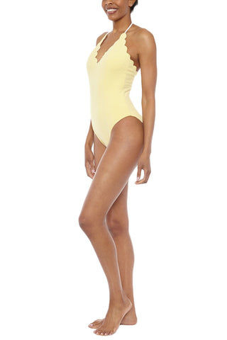 MARYSIA Broadway Halter Reversible Maillot One Piece Swimsuit - Cream/Sunlight Yellow One Piece | Cream/Sunlight Yellow| Marysia Broadway Halter Maillot One Piece Swimsuit - Cream/Sunlight Yellow Scalloped edges Adjustable halter ties Moderate coverage 88% Polyamide, 12% Elastane  Side View