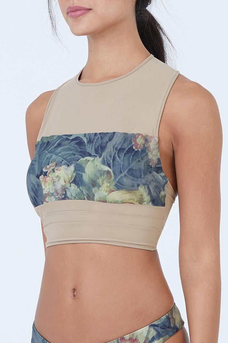 18b2a0951a8 ... BOYS + ARROWS Mav.rik Cropped Zipper Racerback Bikini Top - Everglade  Tan Floral Print ...