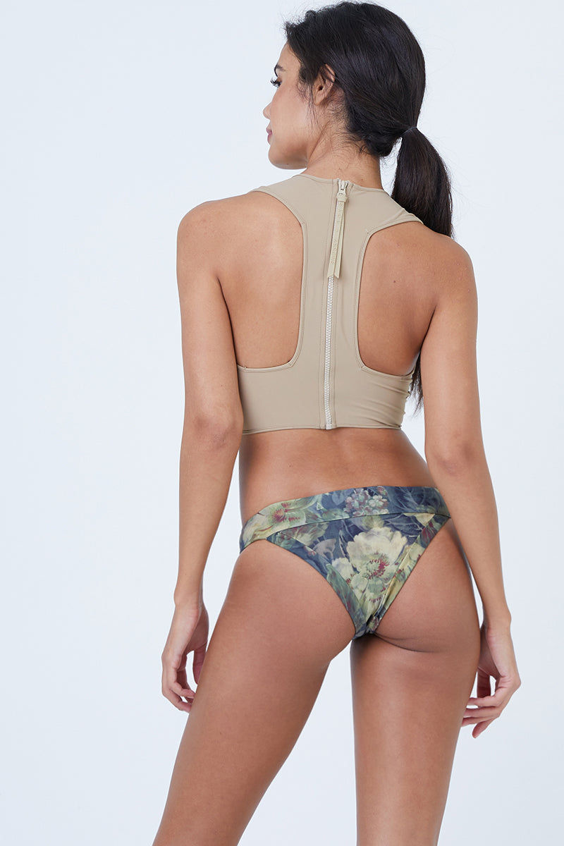 20f4e68a38a41 ... BOYS + ARROWS Mav.rik Cropped Zipper Racerback Bikini Top - Everglade  Tan Floral Print ...