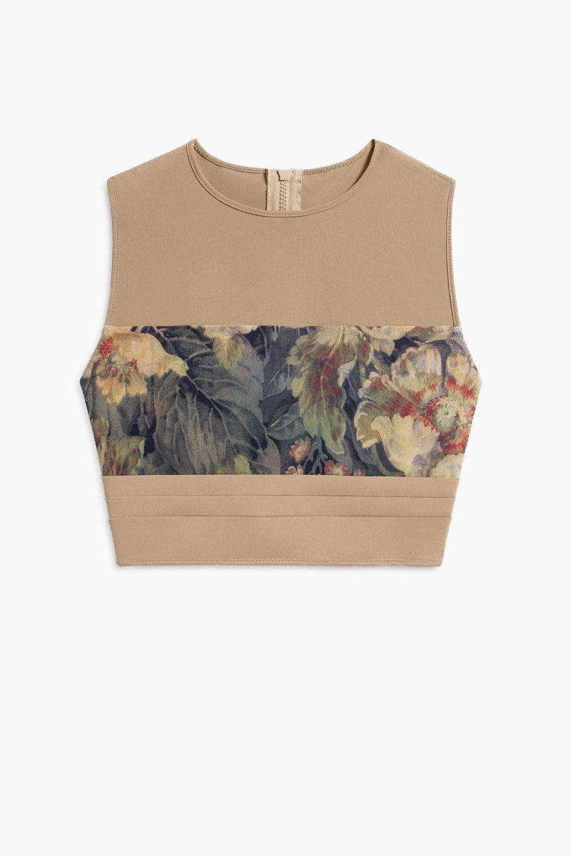 3b52be3d23432 ... BOYS + ARROWS Mav.rik Cropped Zipper Racerback Bikini Top - Everglade  Tan Floral Print