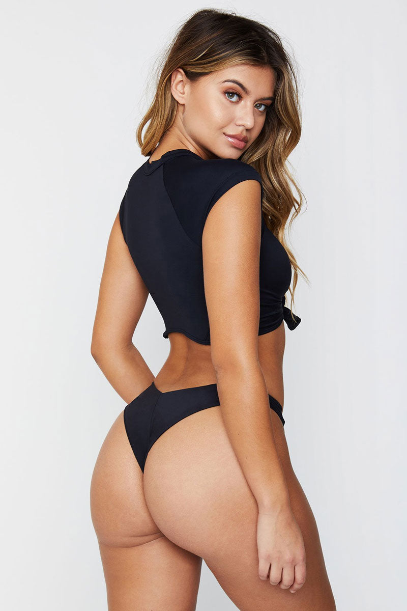 FRANKIES BIKINIS Max Top - Black Bikini Top | Black|Max Top - Features:  Crop top style bikini top Knotted detail at middle High neck Short cap sleeve