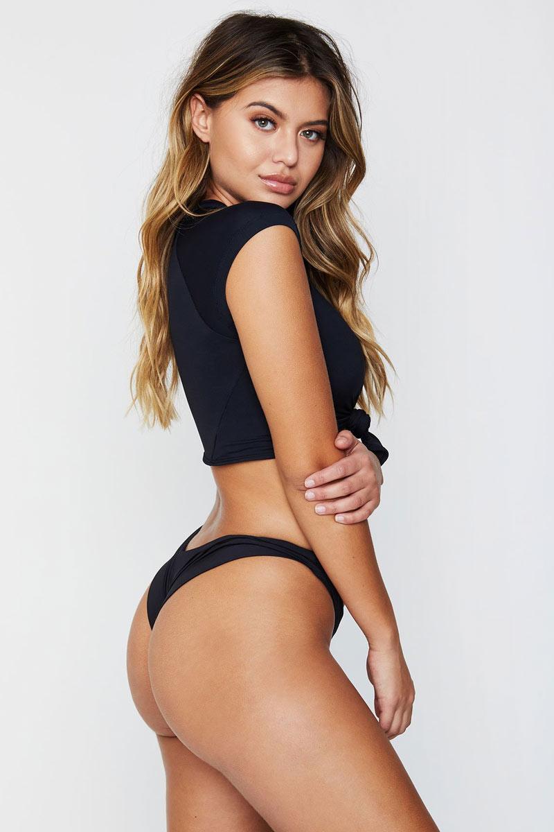 FRANKIES BIKINIS Max Bottom - Black Bikini Bottom | Black|Max Bottom - Features:  Black High Cut bikini bottom Brazilian style Mid rise