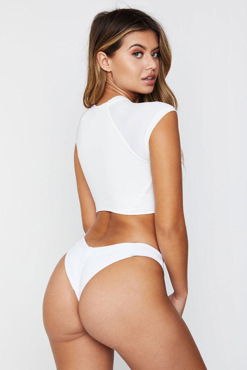 c19d3d0415177 FRANKIES BIKINIS Max High Cut Thong Bikini Bottom - White Bikini Bottom |  White|Frankies ...