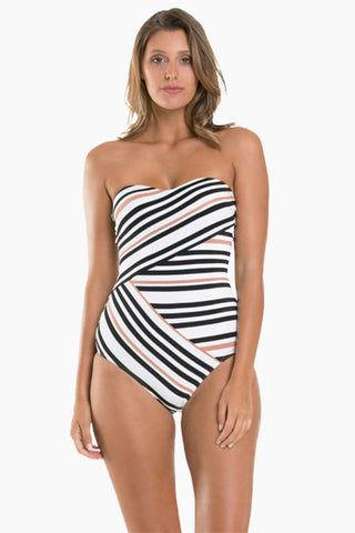 bd48aaa2f30 ... JETS Bandeau One Piece Swimsuit - Black/White Stripe Print One Piece |  Black/ ...