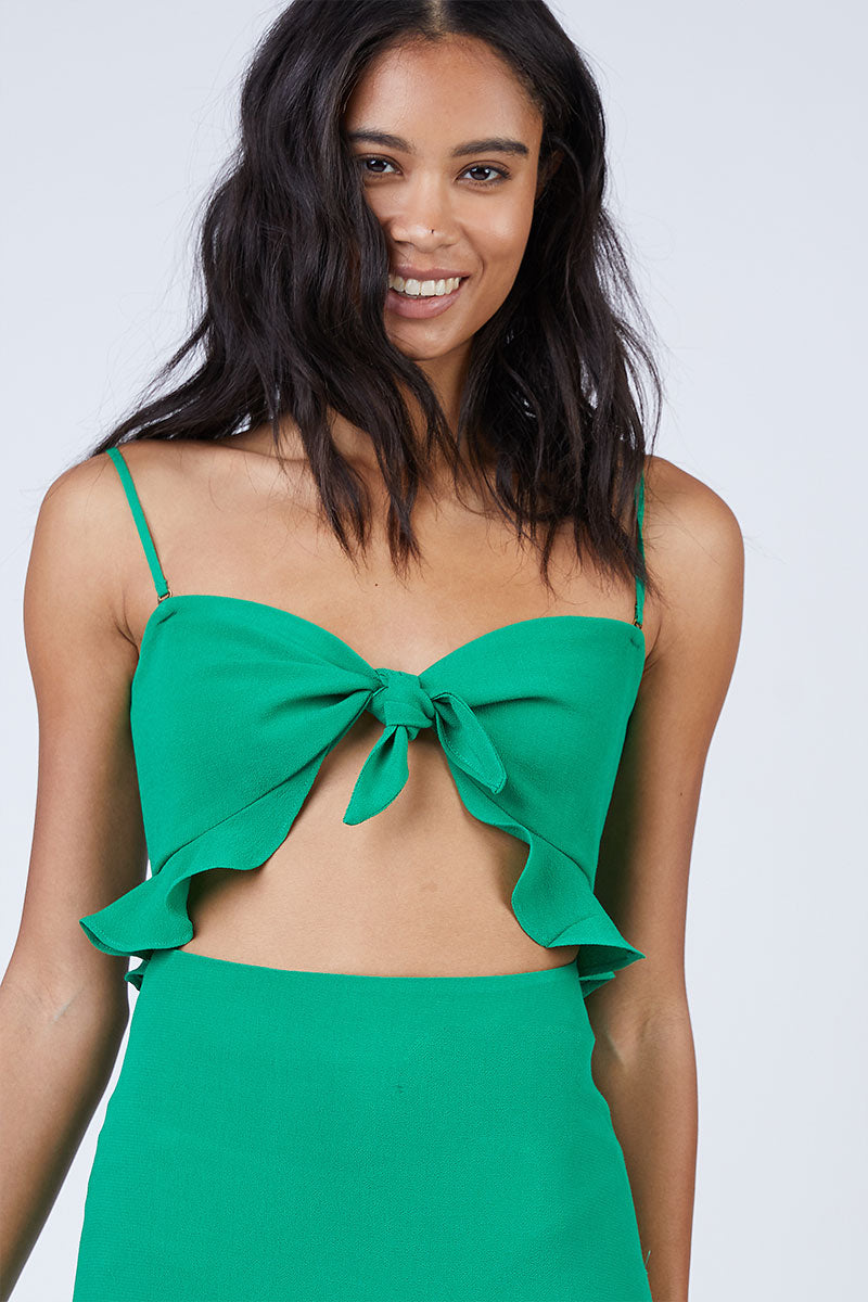 FLYNN SKYE Michelle Maxi Dress - Jolly Green Dress | Jolly Green| Flynn Skye Michelle Maxi Dress - Jolly Green Front View Ruffled Top Front Tie Detail  Center Cut Out  High Waist Wrap Skirt  Ruffled Feminine Cut  Made in LA