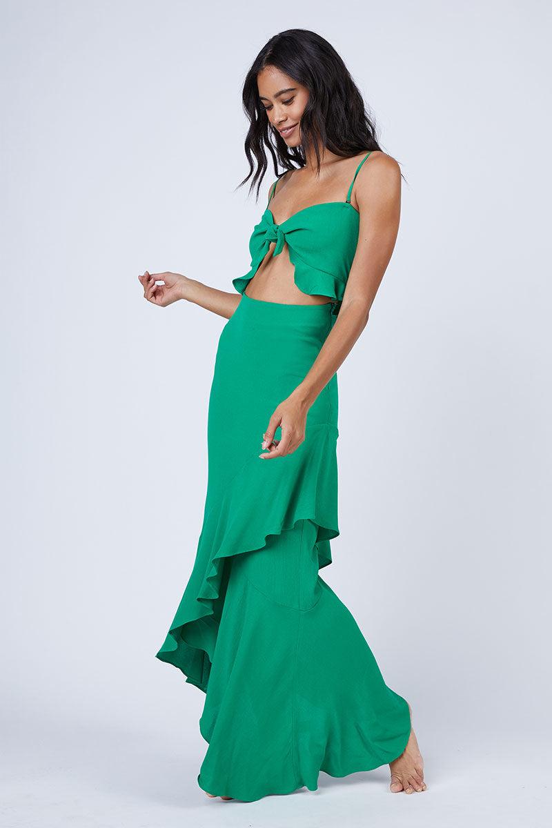 365b0be8ce8 FLYNN SKYE Michelle Cut Out Knot Front Maxi Dress - Jolly Green Dress