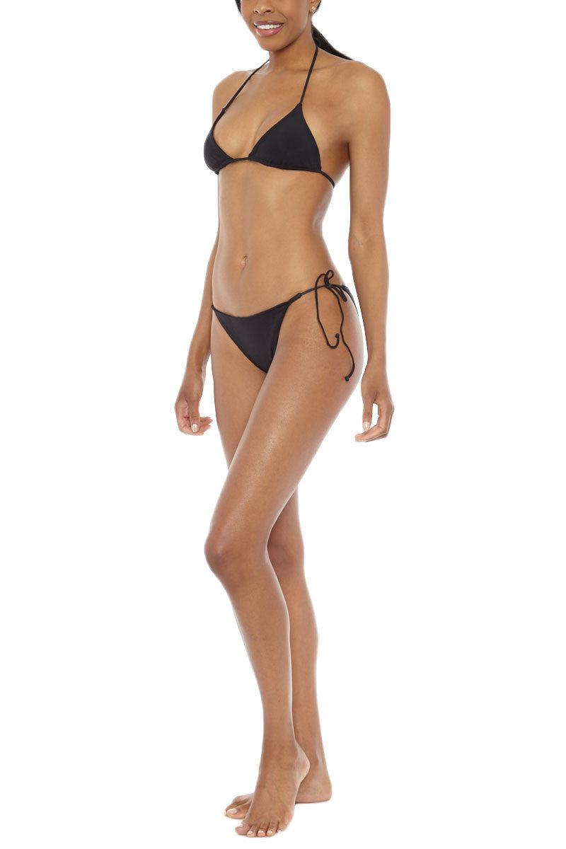 MIDNIGHT Co. Bella Halter Triangle Bikini Top - Black Bikini Top | Black| Midnight Swim Bella Bikini Top