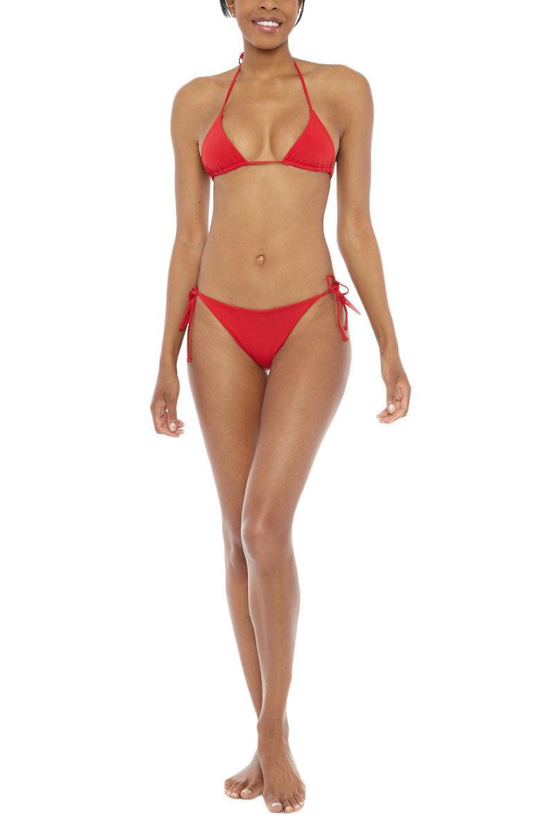 MIDNIGHT Co. Bella Low Rise Side Tie Bikini Bottom - Red Bikini Bottom   Red  Midnight Bella Bikini Bottom