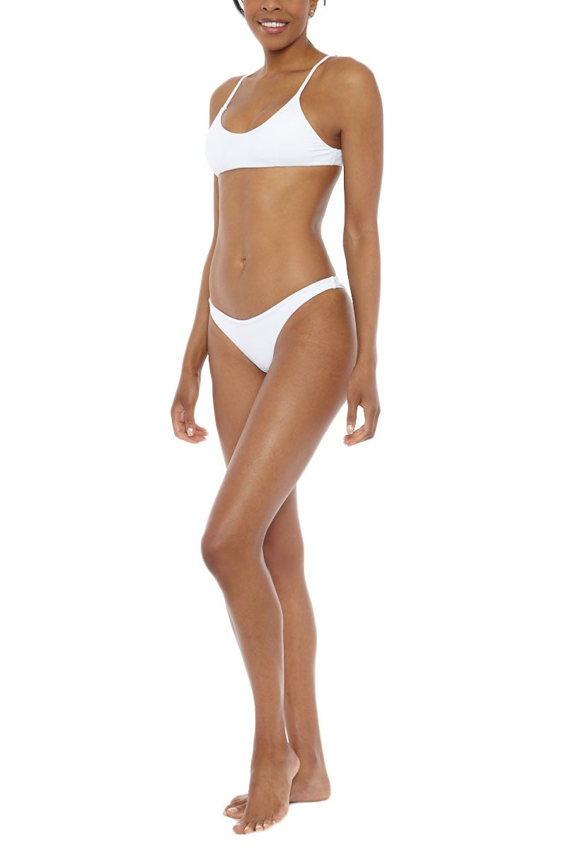 MIDNIGHT Co. Muse Low Rise Cheeky Bikini Bottom - White Bikini Bottom | White| Midnight Swim Muse Bikini Bottom