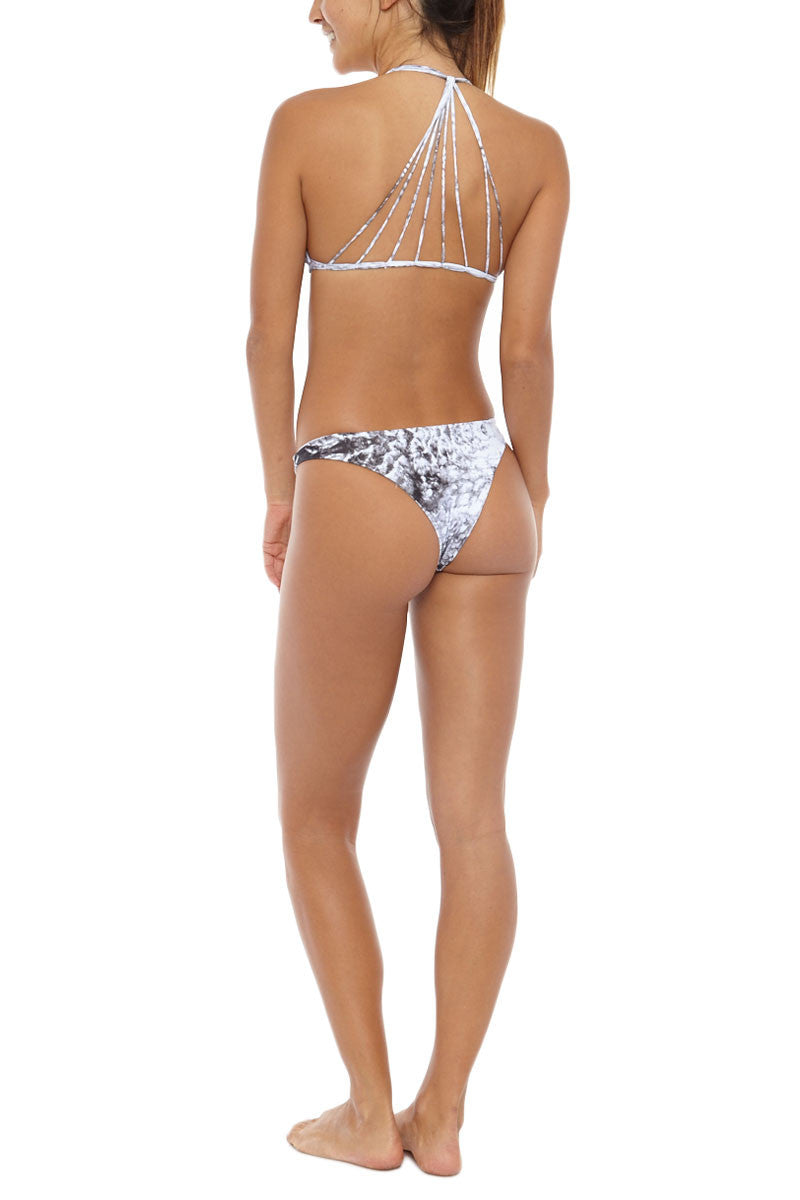 MIKOH Banyans Multi String Seamless Bikini Top - Whitewater Night Print Bikini Top | Whitewater Night Print| Mikoh Banyans Multi String Seamless Bikini Top - Whitewater Night Print. Features: Thin cross over strings. Lined. Pullover, stretch fit. View: On model,  full back view.