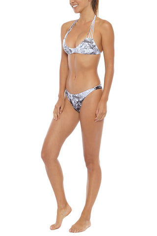 MIKOH Banyans Multi String Seamless Bikini Top - Whitewater Night Print Bikini Top | Whitewater Night Black Tie Dye Print| Mikoh Banyans Multi String Seamless Bikini Top - Whitewater Night Print. Features: Thin cross over strings. Front View