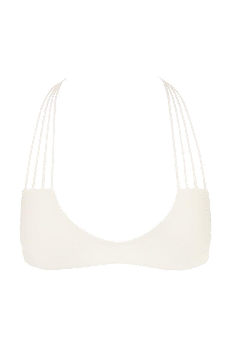 MIKOH Banyans String Racerback Bikini Top - Bone White Bikini Top | Bone White| Mikoh Banyans String Racerback Bikini Top - Bone White Bralette Strappy racerback Light double lining 80% Nylon, 20% Spandex Front View