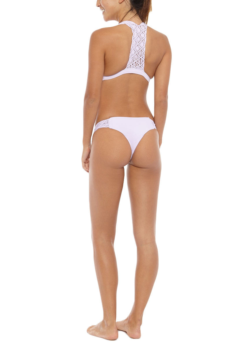 MIKOH Cayman Macrame Brazilian Bikini Bottom - Taro Purple Bikini Bottom | Taro Purple| Mikoh Cayman Macrame Brazilian Bikini Bottom - Taro Purple Hipster Wide macrame band for a flattering fit Cheeky coverage 80% Nylon, 20% Spandex Back View