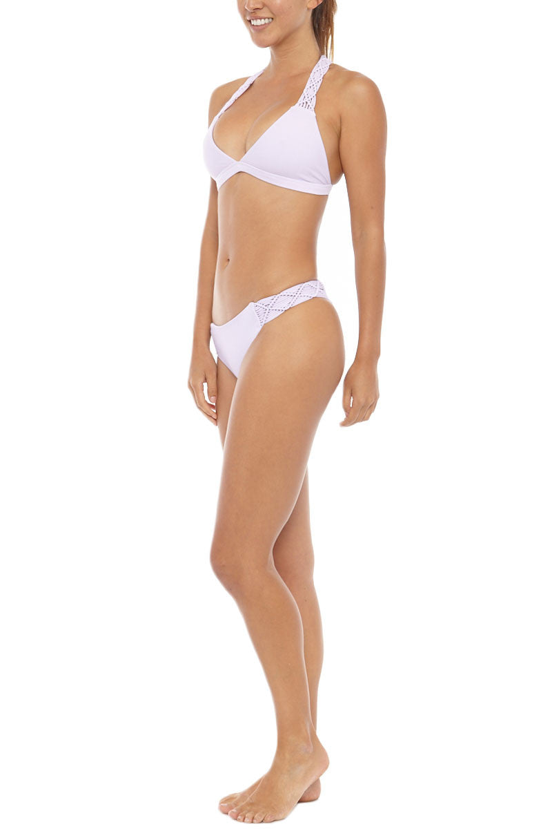 MIKOH Tuamotu Macrame T-Back Bikini Top - Taro Purple Bikini Top | Taro Purple| Mikoh Tuamotu Macrame T-Back Bikini Top - Taro Purple Macrame detailed straps and back Light double lining 80% Nylon, 20% Spandex Front View