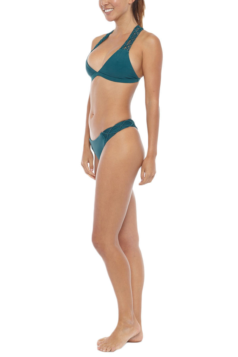 MIKOH Cayman Macrame Brazilian Bikini Bottom - Kelp Green Bikini Bottom | Kelp Green| Mikoh Cayman Macrame Brazilian Bikini Bottom - Kelp Green Hipster Wide macrame band for a flattering fit Cheeky coverage Light double lining 80% Nylon, 20% Spandex Front View