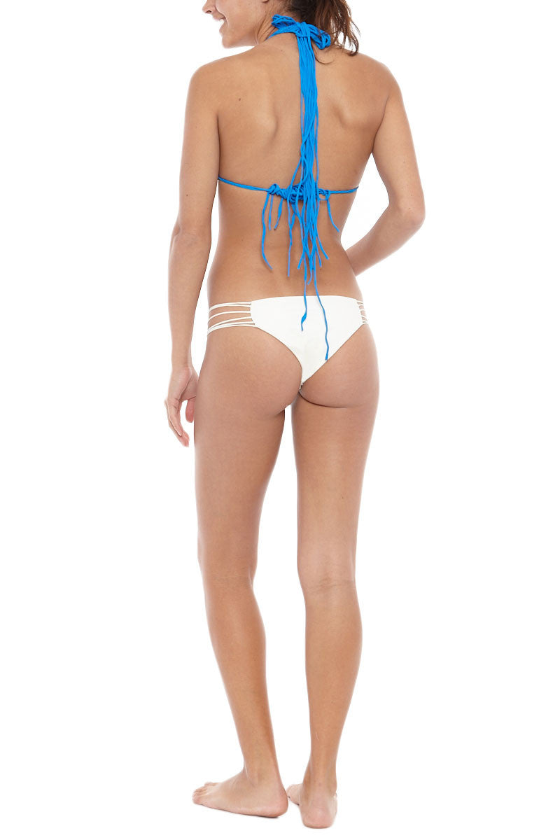 MIKOH Coconuts Adjustable Side String Bikini Top - Tahiti Blue Bikini Top | Tahiti Blue| Mikoh Coconuts Adjustable Side String Bikini Top - Tahiti Blue. Features: Side string for adjustable coverage of cups. Light double lining. Ties at neck and back. View: On model, full back view.