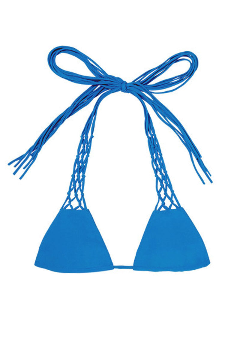 MIKOH Coconuts Adjustable Side String Bikini Top - Tahiti Blue Bikini Top | Tahiti Blue| Mikoh Coconuts Adjustable Side String Bikini Top - Tahiti Blue. Features: Side string for adjustable coverage of cups. Light double lining. Ties at neck and back. View: Flat lay, full front view.
