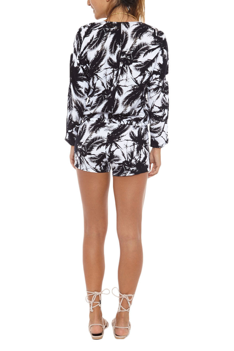 MIKOH Hawaii Long Sleeve Low Cut Romper - Polynesian Palm Print Romper | Polynesian Palm Print| Mikoh Hawaii Long Sleeve Low Cut Romper - Polynesian Palm Print Features: Drawstring cinches at drop waist. Optional button closer on front keyhole. Cuffed 3/4 sleeves. Semi-sheer. Back View