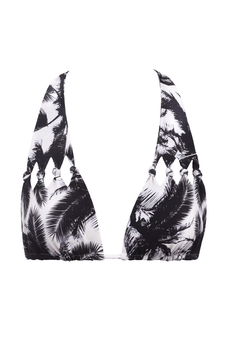 MIKOH Hilo Cut Out Knot Bikini Top - Polynesian Palm Print Bikini Top | Polynesian Palm Print| MIKOH Hilo Cut Out Knot Bikini Top - Polynesian Palm Print. Features: Cutout Knot detail, sliding triangles to adjust fit. Ties at neck and back. Seamless and hardware free. Front View