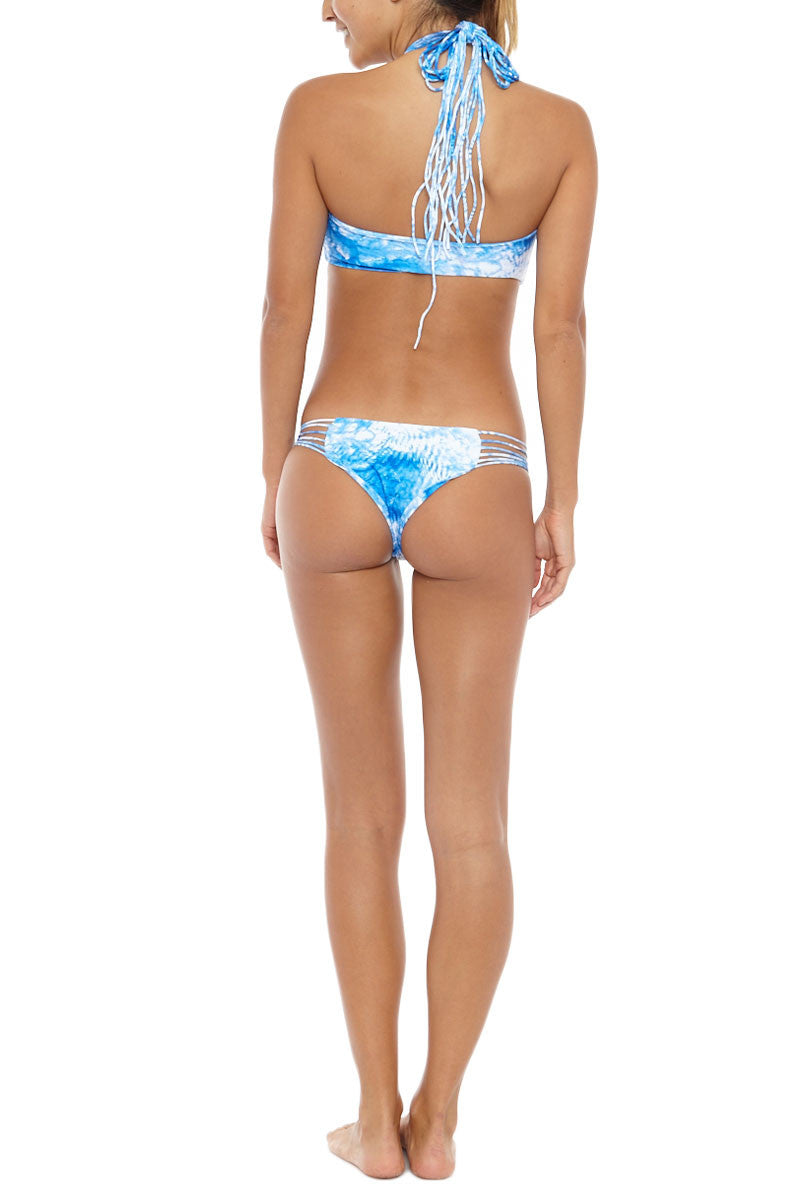 MIKOH Kahala Stringy High Neck Bikini Top - Whitewater Fiji Blue Tie Dye Print Bikini Top | Whitewater Fiji Blue Tie Dye Print| Mikoh Kahala Stringy High Neck Bikini Top - Whitewater Fiji Blue Print  Strings gather and tie at neck Boning and ruching at sides Double layered 80% Nylon, 20% Spandex Back View