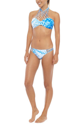 MIKOH Kahala Stringy High Neck Bikini Top - Whitewater Fiji Blue Tie Dye Print Bikini Top | Whitewater Fiji Blue Tie Dye Print| Mikoh Kahala Stringy High Neck Bikini Top - Whitewater Fiji Blue Print  Strings gather and tie at neck Boning and ruching at sides Double layered 80% Nylon, 20% Spandex Front View