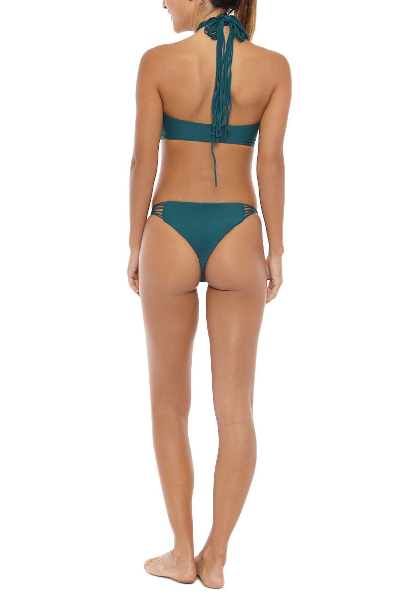 MIKOH Lanai Strappy Cheeky Bikini Bottom - Kelp Green Bikini Bottom | Kelp Green| Mikoh Lanai Strappy Cheeky Bikini Bottom - Kelp Green Cheeky coverage Multiple side straps Light double lining 95% Nylon, 5% Spandex Back View