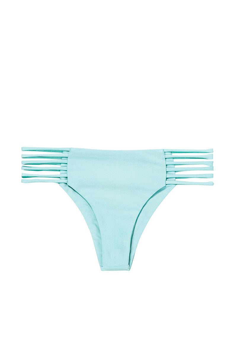 MIKOH Kapalua Stringy Cheeky Bikini Bottom - Capri Blue Bikini Bottom | Capri Blue| Mikoh Kapalua Stringy Cheeky Bikini Bottom - Capri. Features: Six Strings wrapping around the sides. Light double lining. View: Flat lay, full front view.
