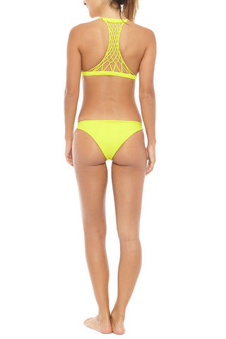 MIKOH Miyako Minimal Bikini Bottom - Plumeria Yellow Bikini Bottom | Plumeria Yellow| Mikoh Miyako Minimal Bikini Bottom - Plumeria Yellow Minimal coverage Seamless Fully lined 80% Nylon, 20% Spandex Back View