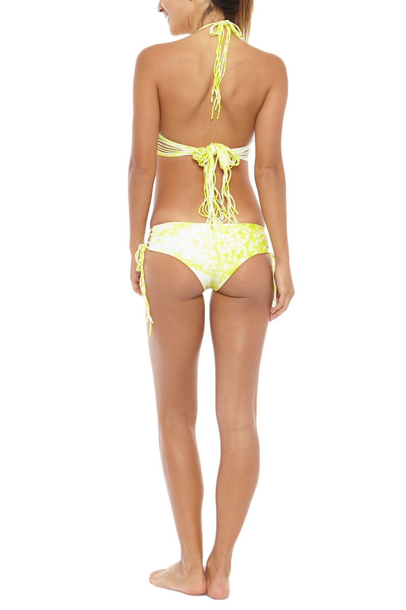 MIKOH Namotu Stringy Halter Bikini Top - Whitewater Plumeria Yellow Tie Dye Print Bikini Top | Whitewater Plumeria Yellow Tie Dye Print| Mikoh Namotu Stringy Halter Bikini Top - Whitewater Plumeria Yellow Tie Dye Print Triangle Multiple string ties Halter neck tie  Back tie closure Lined 80% Nylon, 20% Spandex Back View