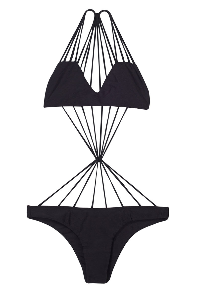 MIKOH Seychelles Stringy Center Knot One Piece Swimsuit - Night Black One Piece | Night Black| Mikoh Seychelles Stringy Center Knot One Piece Swimsuit - Night. Features:Knotted woven back detail. Skimpy bottom fit. View: Flat lay, full front view.