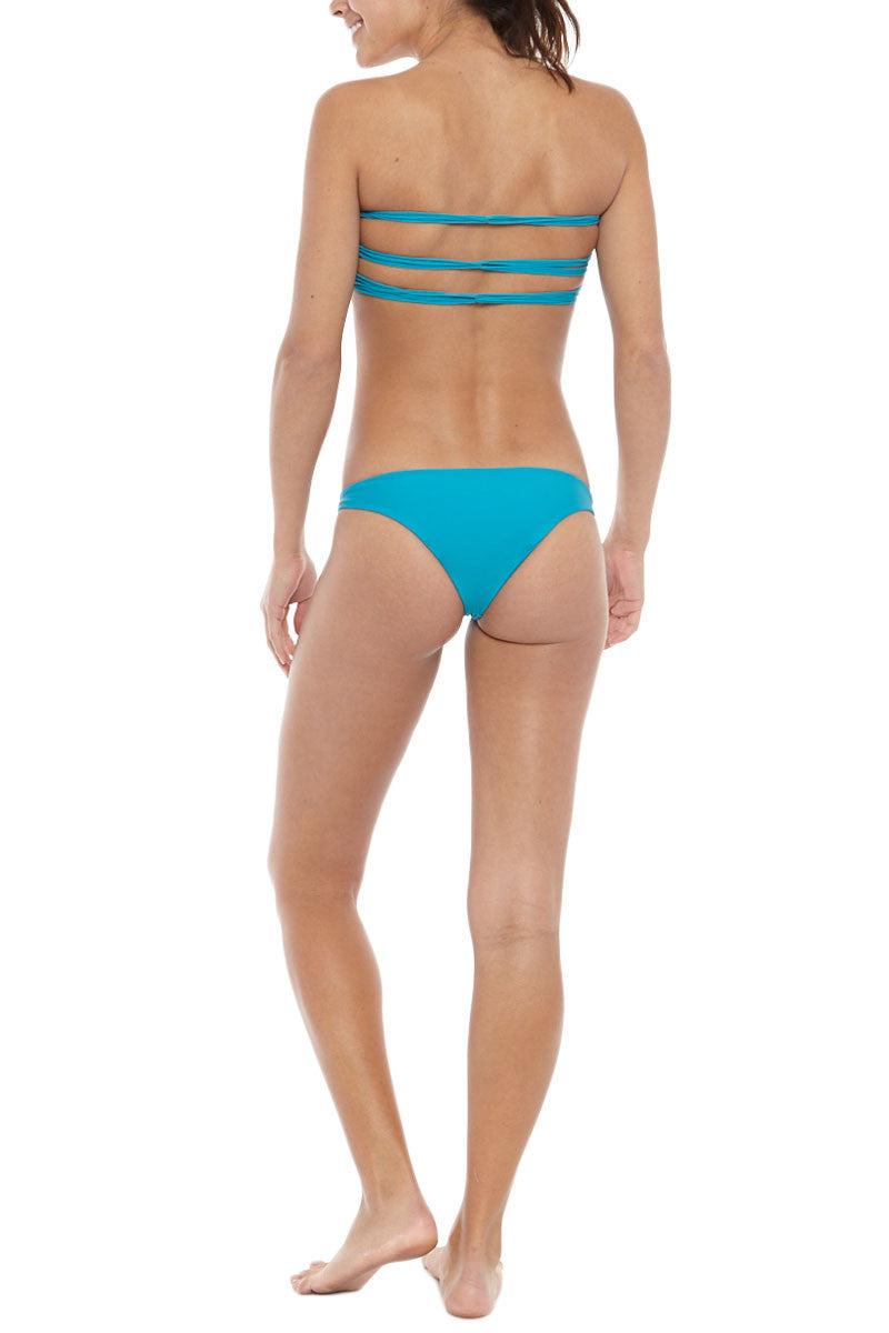 MIKOH Miyako Minimal Bikini Bottom - Caribbean Blue Bikini Bottom   Caribbean Blue  Mikoh Miyako Minimal Bikini Bottom - Caribbean Blue Brazilian coverage Light double lining 80% Nylon, 20% Spandex Front View