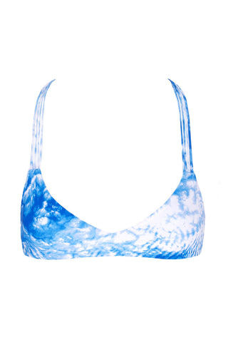 MIKOH Uluwatu T-Back Bralette Bikini Top - Whitewater Fiji Blue Tie Dye Print Bikini Top | Whitewater Fiji Blue Tie Dye Print| Mikoh Uluwatu T-Back Bralette Bikini Top - Whitewater Fiji Blue Tie Dye Print Bralette T-strap racerback Double fabric front and multi string back Pull over 80% Nylon, 20% Spandex Front View