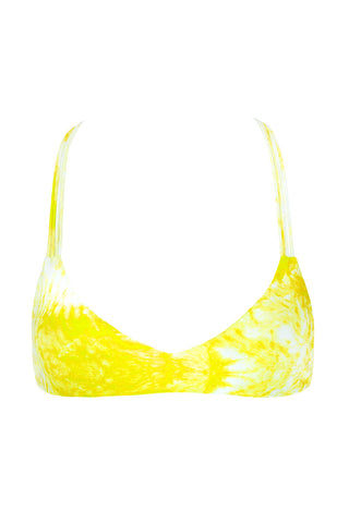 MIKOH Uluwatu T-Back Bralette Bikini Top - Whitewater Plumeria Yellow Tie Dye Print Bikini Top | Whitewater Plumeria Yellow Tie Dye Print| Mikoh Uluwatu T-Back Bralette Bikini Top - Whitewater Plumeria Yellow Tie Dye Print Bralette T-strap racerback Double fabric front and multi string back Pull over 80% Nylon, 20% Spandex Front View