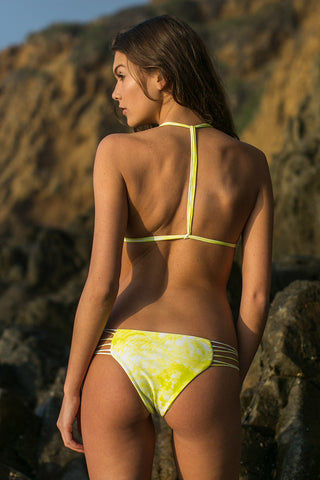 MIKOH Kapalua Stringy Classic Bikini Bottom - Whitewater Plumeria Yellow Tie Dye Print Bikini Bottom | Whitewater Plumeria Yellow Tie Dye Print| Mikoh Kapalua Strappy Classic Bikini Bottom - Whitewater Plumeria Yellow Tie Dye Print. Features: Multiple string sides, elastic stretch fit, fully lined. Back View