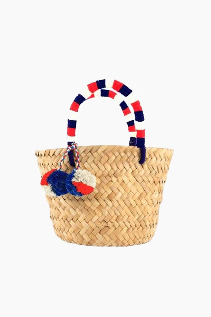 KAYU Mini Saint Tropez Tote - Natural/Red/White Bag | Natural/Red/White| Kayu Mini Saint Tropez Tote - Natural/Red/White. Features:  Woven straw Open top Pom Pom accents Front View
