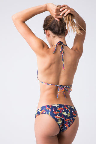 VERDELIMON Tunas Low Rise Cheeky Bikini Bottom - Koi Fish Bikini Bottom | Koi Fish| Verdelimon Tunas Moderate Bottom - Koi Fish Classic bikini bottom. Navy blue fabric offset by multicolor koi fish print. Medium wide straps. Moderate coverage.