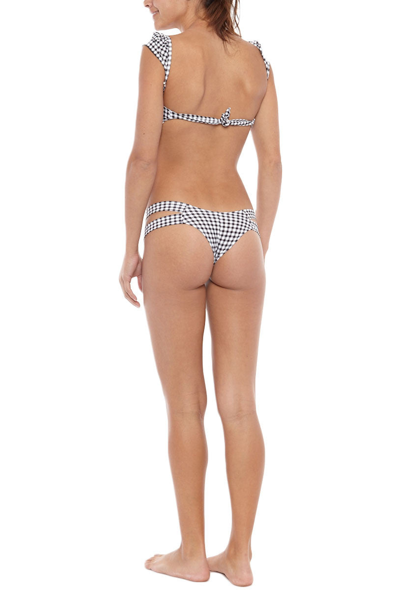 MONTCE SWIM Euro Double Strap Bikini Bottom - Black Gingham Print Bikini Bottom | Black Gingham Print| Montce Swim Euro Double Strap Bikini Bottom - Black Gingham Print. Features: Thick double straps. cheeky coverage. Double lined. Back View