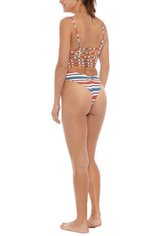 MONTCE SWIM Cage Strappy High Cut One Piece Swimsuit - Retro Stripe Print One Piece | Retro Stripe Print| Montce Swim Cage Strappy High Cut One Piece Swimsuit - Retro Stripe Print Skimpy front coverage with retro-inspired high-cut leg lengthens your frame. Cheeky rear cut with ruched seam detail accentuates your best assets. Plunging center cut-out with strappy caged detailing gives the bodysuit a sexy look. Adjustable thin spaghetti straps offer just the right amount of support. Back View